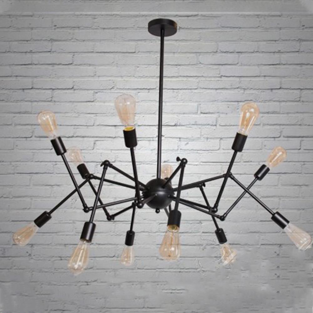"""Люстра """"паук"""" в стиле лофт на 12 ламп СветМира (черная) D-0321-12 BK"""