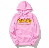 "Размер S Толстовка Thrasher Flame Logo | розовая | Толстовка Трешер """" В стиле Thrasher """" утепленная"