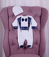 Нарядный комплект для новорожденных Фрак New белый с синим 56-74 р., фото 1