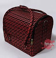 Сумка-чемодан для мастера маникюра/парикмахера/визажиста, чёрный с красным принтом, фото 1