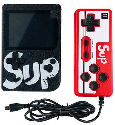 Портативная игровая приставка + джойстик 8bit 400 игр SUP Game Box black