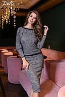 Нарядный ангоровый костюм: кофта декорирована кружевной тесьмой + юбка миди, 8 цветов