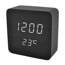 Электронные настольные часы VST 872S-6 с USB, черный цвет с текстурой дерева
