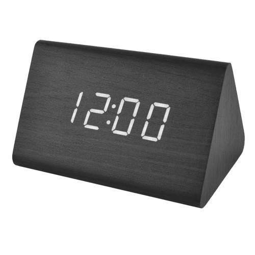 Электронные настольные часы VST 864-6 с USB, черный цвет с текстурой дерева
