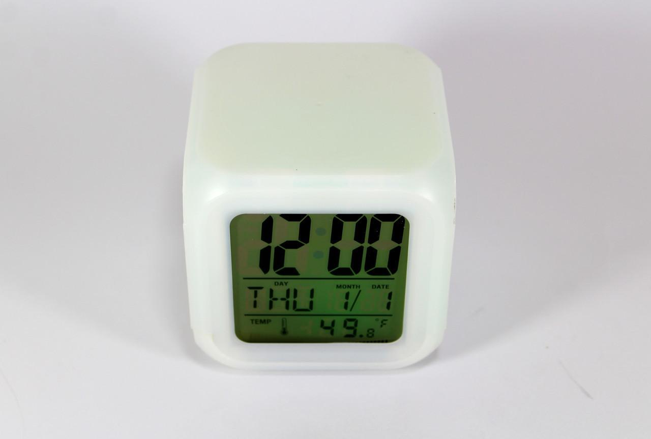 Электронные настольные светящиеся часы-хамелеон CX 508, белый цвет