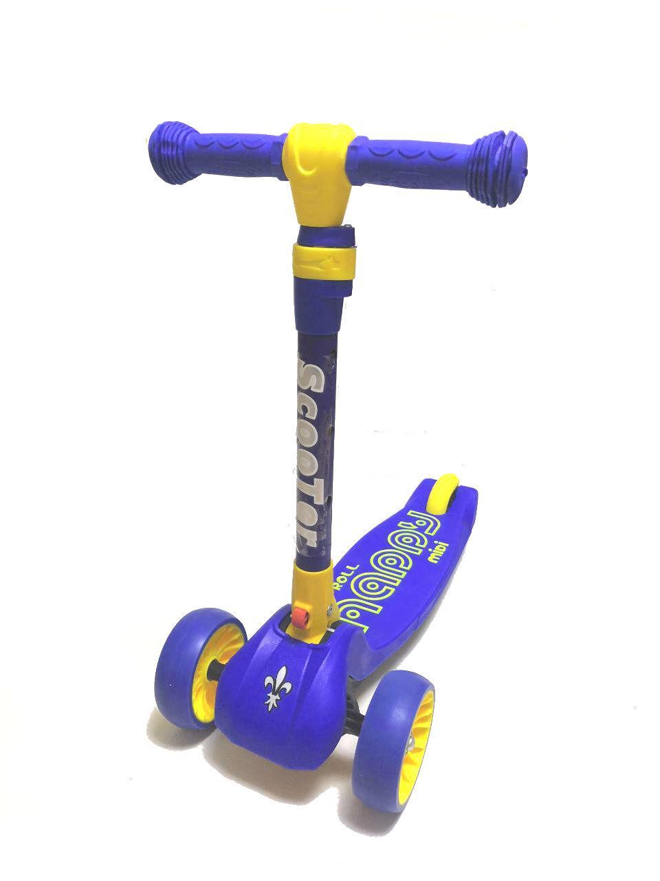Самокат детский 3-х колесный SMART Синий (Складной, светящиеся колеса, руль от 54-75см, до 50 кг)