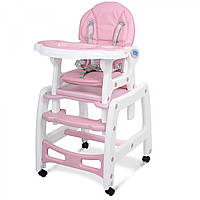 Детский стульчик для кормления трансформер столик+стульчик+качалка Bambi M 1563-8-1 розовый
