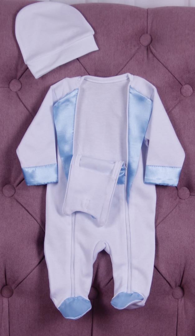 Нарядный комплект для новорожденного мальчика Фрак New белый/голубой