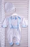 Нарядный комплект для новорожденного мальчика Фрак New белый/голубой, фото 4