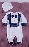 Нарядный комплект для новорожденного мальчика Фрак New белый/синий, фото 3