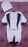 Нарядный комплект для новорожденного мальчика Фрак New белый/синий, фото 6