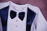 Нарядный комплект для новорожденного мальчика Фрак New белый/синий, фото 5