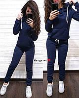 Стильный женский  спортивный костюм с начесом: кофта с капюшоном и карманами + штаны, 5 цветов, рр 40-42 40-42, темно-синий