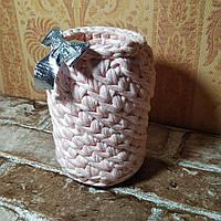 Вязаная корзинка ручной работы из трикотажной пряжи