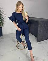 Женский стильный брючный костюм в полоску синий и белый: блуза с воланами на рукавах и брюки (в расцветках)