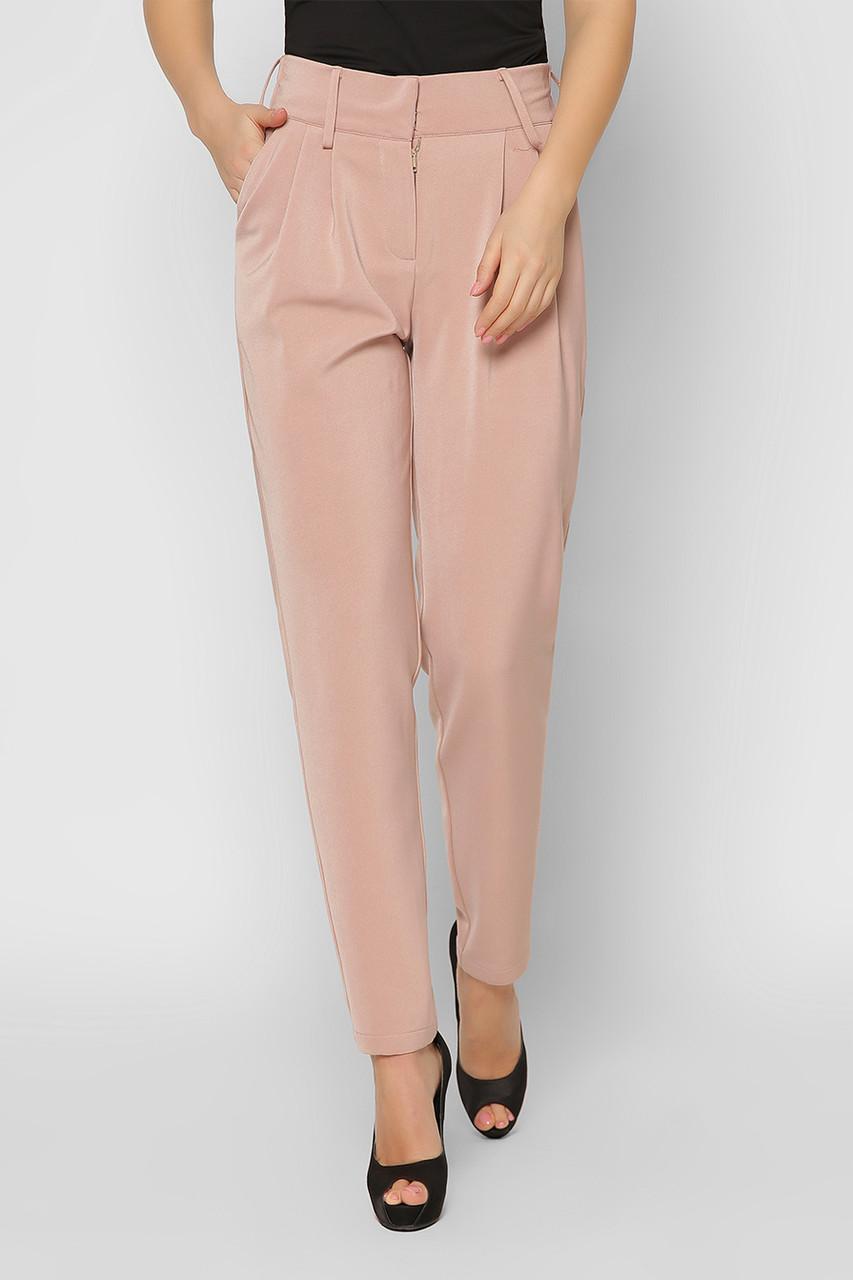 Деловые женские брюки зауженные бежевые