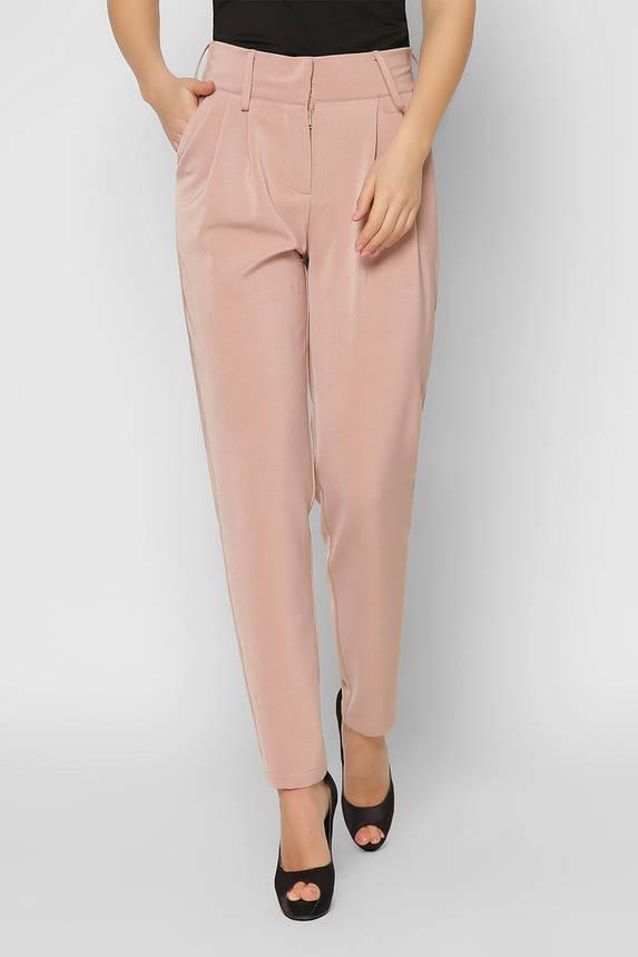 Деловые женские брюки зауженные бежевые, фото 2
