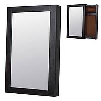 Зеркало настенное прямоугольное слайдер с секцией для хранения 42х8х65 см. коричневое
