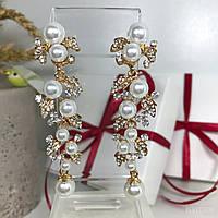"Вечерние серьги ""Gold Pearl"" золотистого цвета., фото 1"