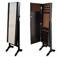 Зеркало напольное прямоугольное с секцией для хранения аксессуаров 39,6х38х153 см. коричневые