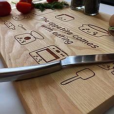 Деревянная кухонная разделочная доска 45 х 30 см с гравировкой