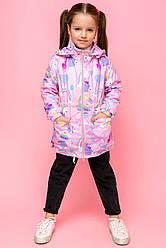 Детская демисезонная ветровка для девочки с единорожками, bh26, размеры 110, 116, 122, 128, 134, 140
