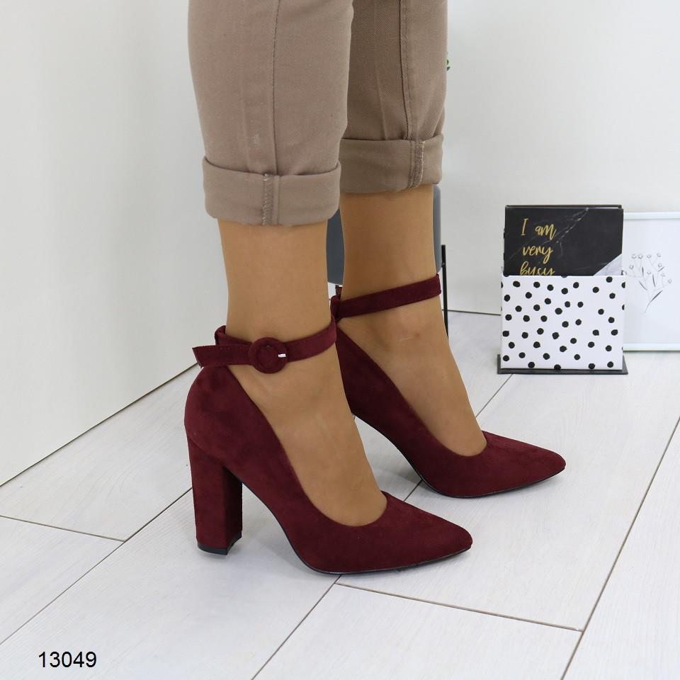 Женские бордовые туфли с ремешком, А 13049