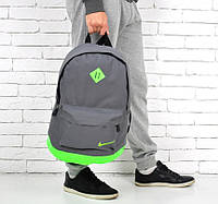 Модный рюкзак NIKE, Найк. Серый с салатовым., фото 1