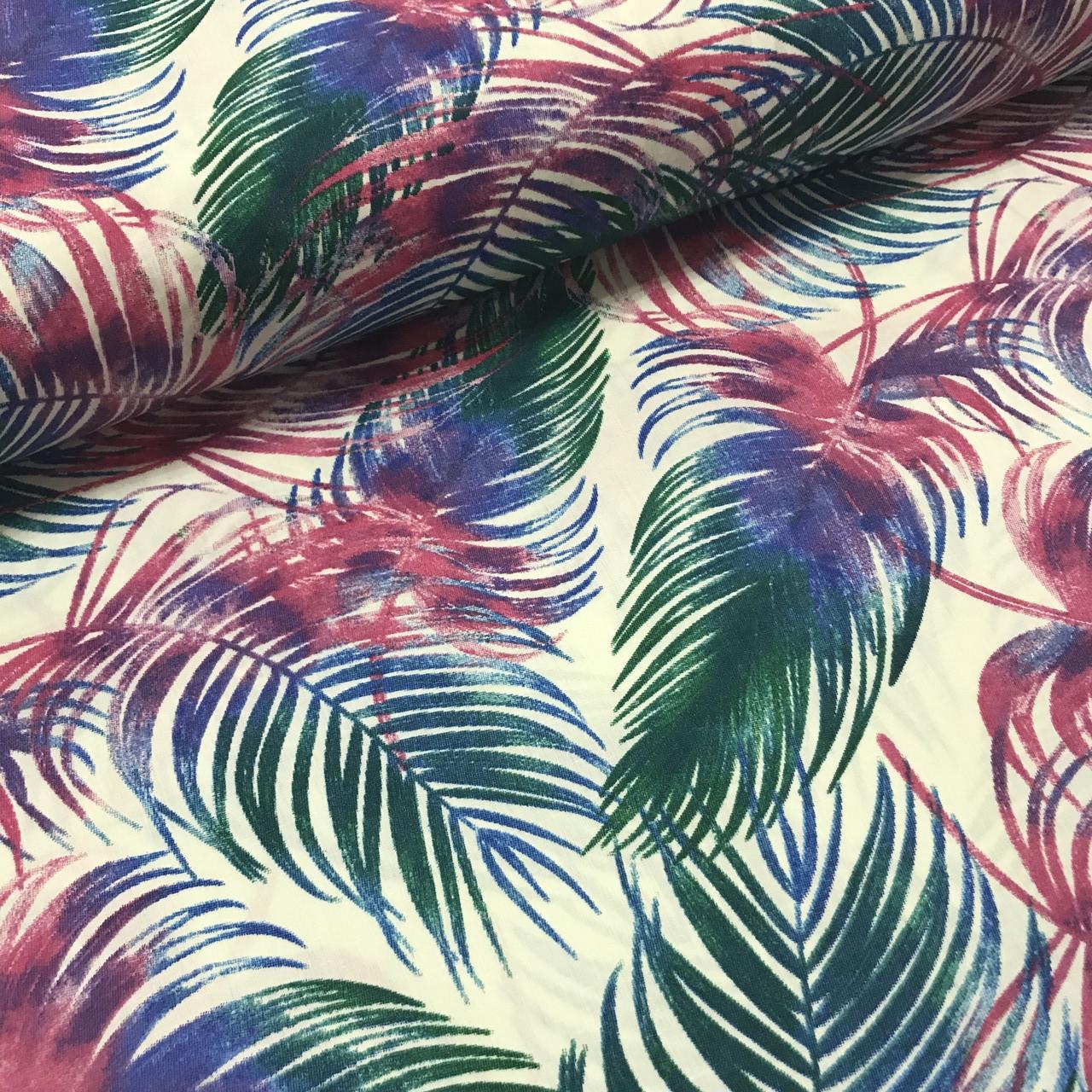 Хлопковая ткань польская, цветные листья пальмы изумрудно-розовые на белом ОТРЕЗ (1.6*1.6)