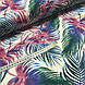 Хлопковая ткань польская, цветные листья пальмы изумрудно-розовые на белом ОТРЕЗ (1.6*1.6), фото 2