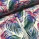 Хлопковая ткань польская, цветные листья пальмы изумрудно-розовые на белом ОТРЕЗ (1.6*1.6), фото 3