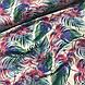 Хлопковая ткань польская, цветные листья пальмы изумрудно-розовые на белом ОТРЕЗ (1.6*1.6), фото 4