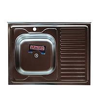 Накладная кухонная мойка Platinum 80*60 (cм) в покрытии polish (полированная), с толщиной 0,4(мм) Левая