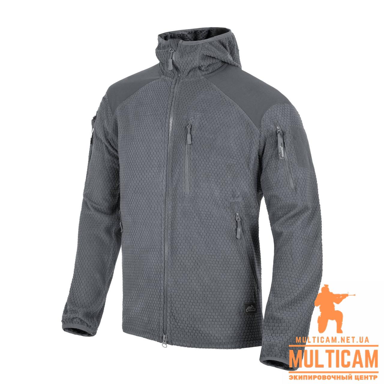 Куртка флісова Helikon-Tex® ALPHA HOODIE Jacket - Grid Fleece - Shadow Grey