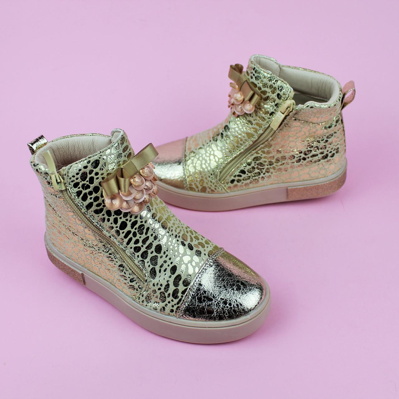 Детские демисезонные высокие ботинки с бантом Золото тм Том.м размер 27,28,29,30,31,32