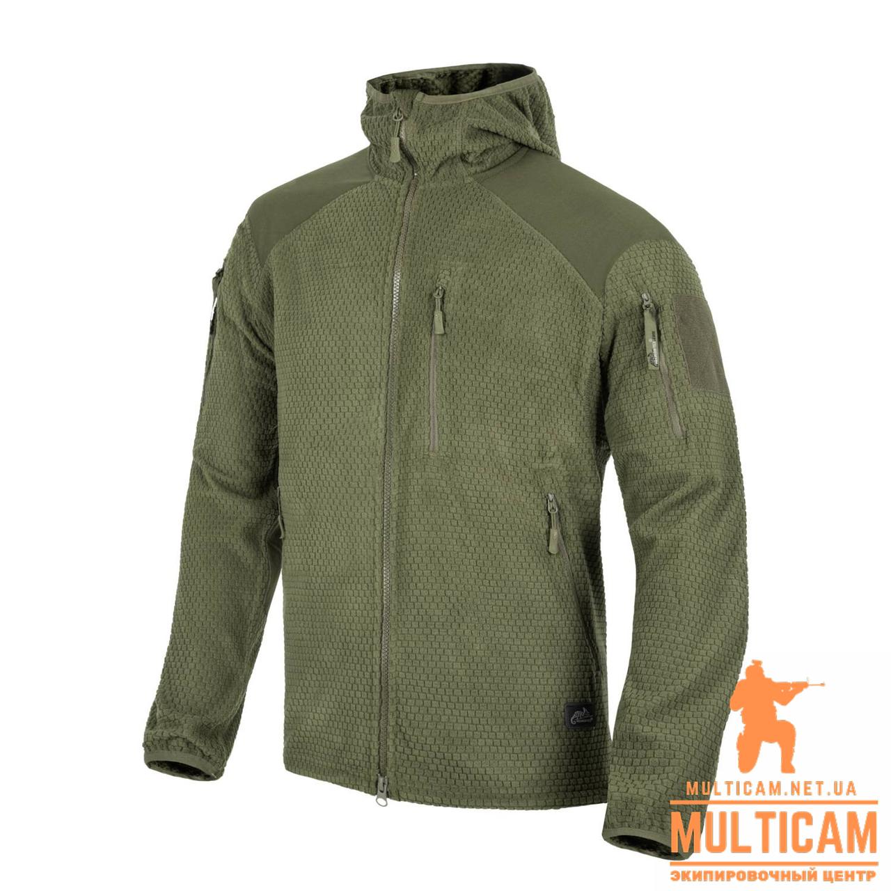 Куртка флисовая Helikon-Tex® ALPHA HOODIE Jacket - Grid Fleece - Olive Green