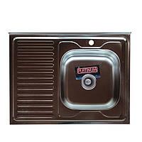 Накладная кухонная мойка Platinum 80*60 (cм) в покрытии decor ( структурная ), с толщиной 0,7(мм)R(правая), фото 1