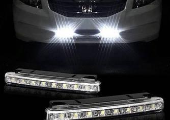 Светодиодные авто фары дневные ходовые огни ДХО LED DRL- 9W (с поворотом)