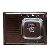 Накладна кухонна мийка Platinum 80*60 (см) у покритті satin (матова), з товщиною 0,7(мм)R(права), фото 1