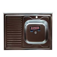 Накладная кухонная мойка Platinum 80*60 (cм) в покрытии satin (матовая), с толщиной 0,5(мм) правая, фото 1