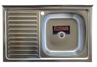 Накладная кухонная мойка Platinum 80*50 (cм) в покрытии decor (структурная), с толщиной 0,7(мм),R(правая)., фото 1