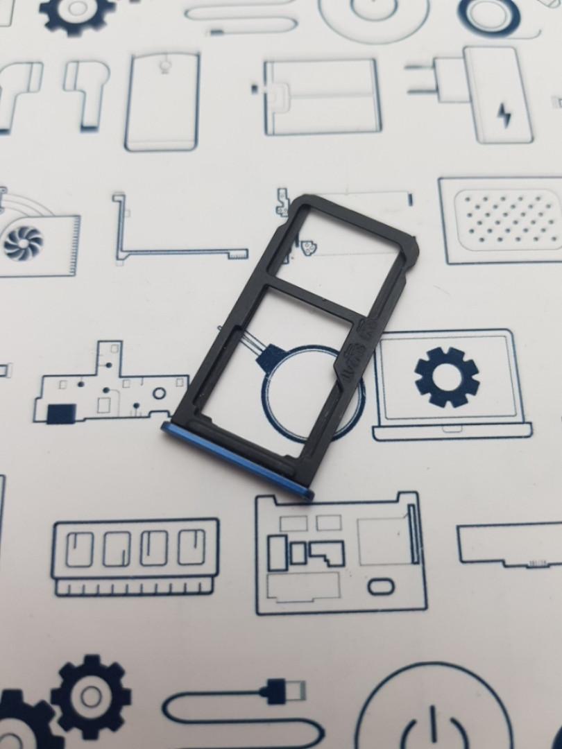 Держатель сим карты Meizu Note 8 M822H синий Сервисный оригинал с разборки