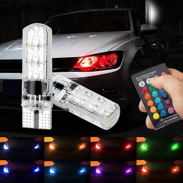 Автомобильные лампы RGB LED T10 с пультом (ходовые огни,салон)