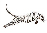 Клеящийся интерьерный стикер на стену и обои Red Running tiger Коричневая, Матовая, 150х85 см