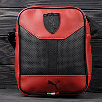 Стильная сумка через плечо, барсетка Puma Ferrari, пума ферари. Красная, фото 1