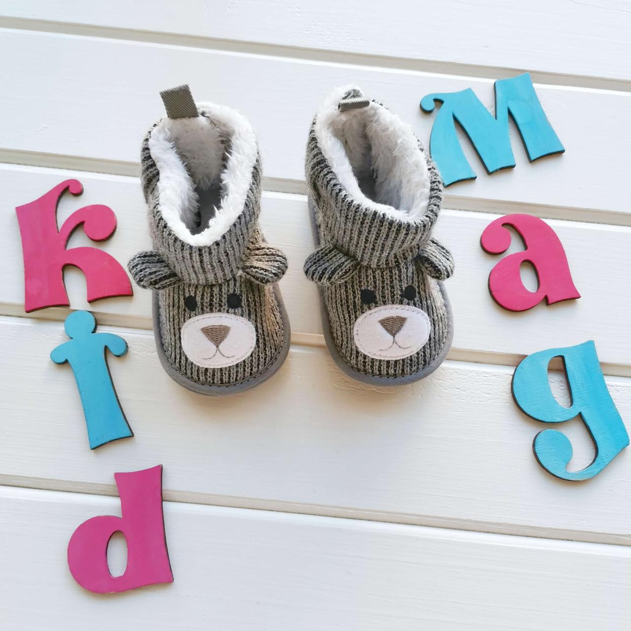 """Пинетки-сапожки детские """"Серые ушки"""" в размере 11, 12 или 13 см"""