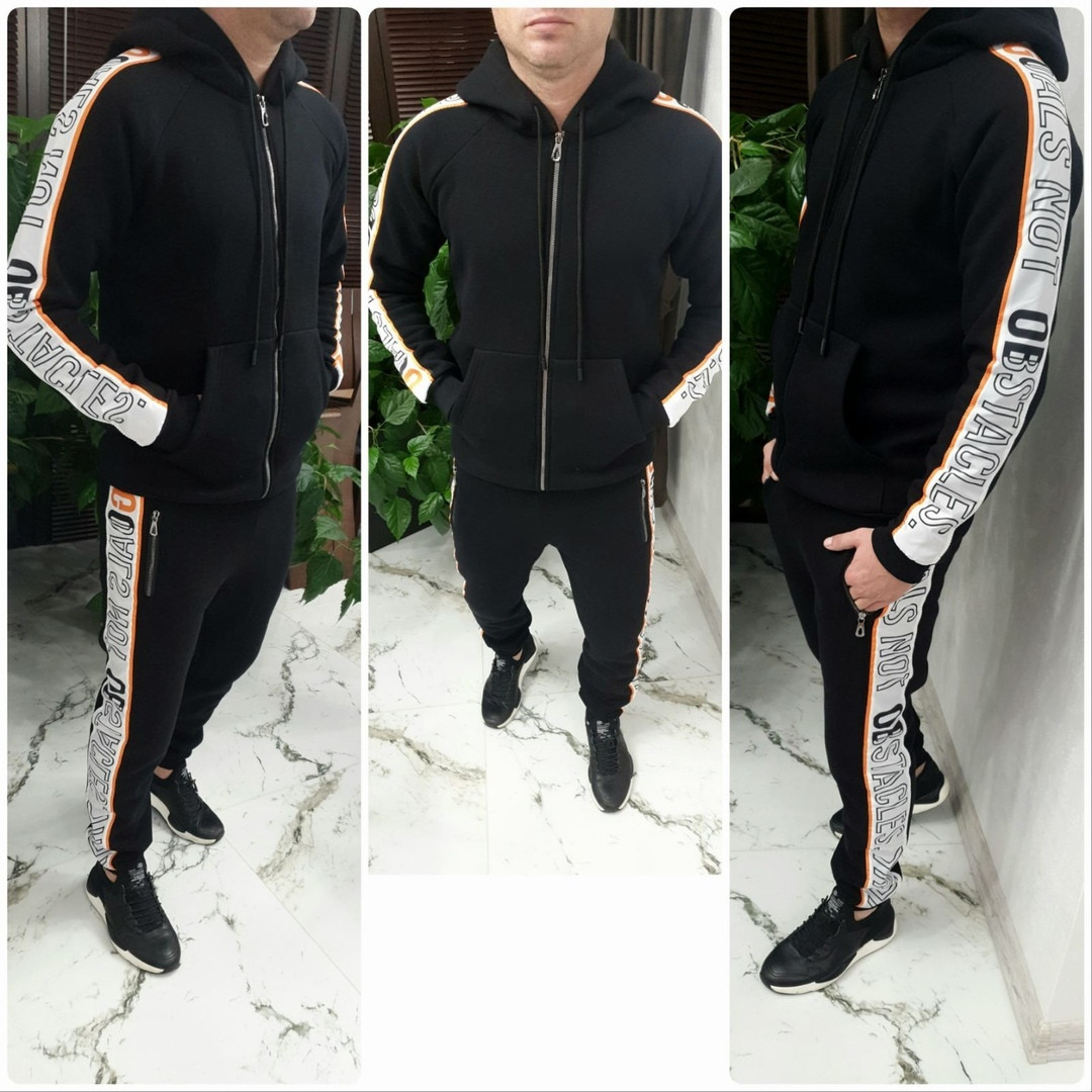 Черный теплый мужской спортивный костюм