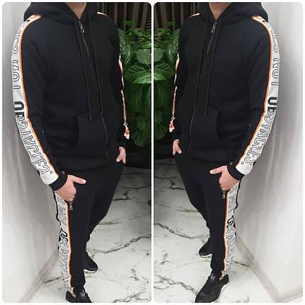 Черный теплый мужской спортивный костюм, фото 2