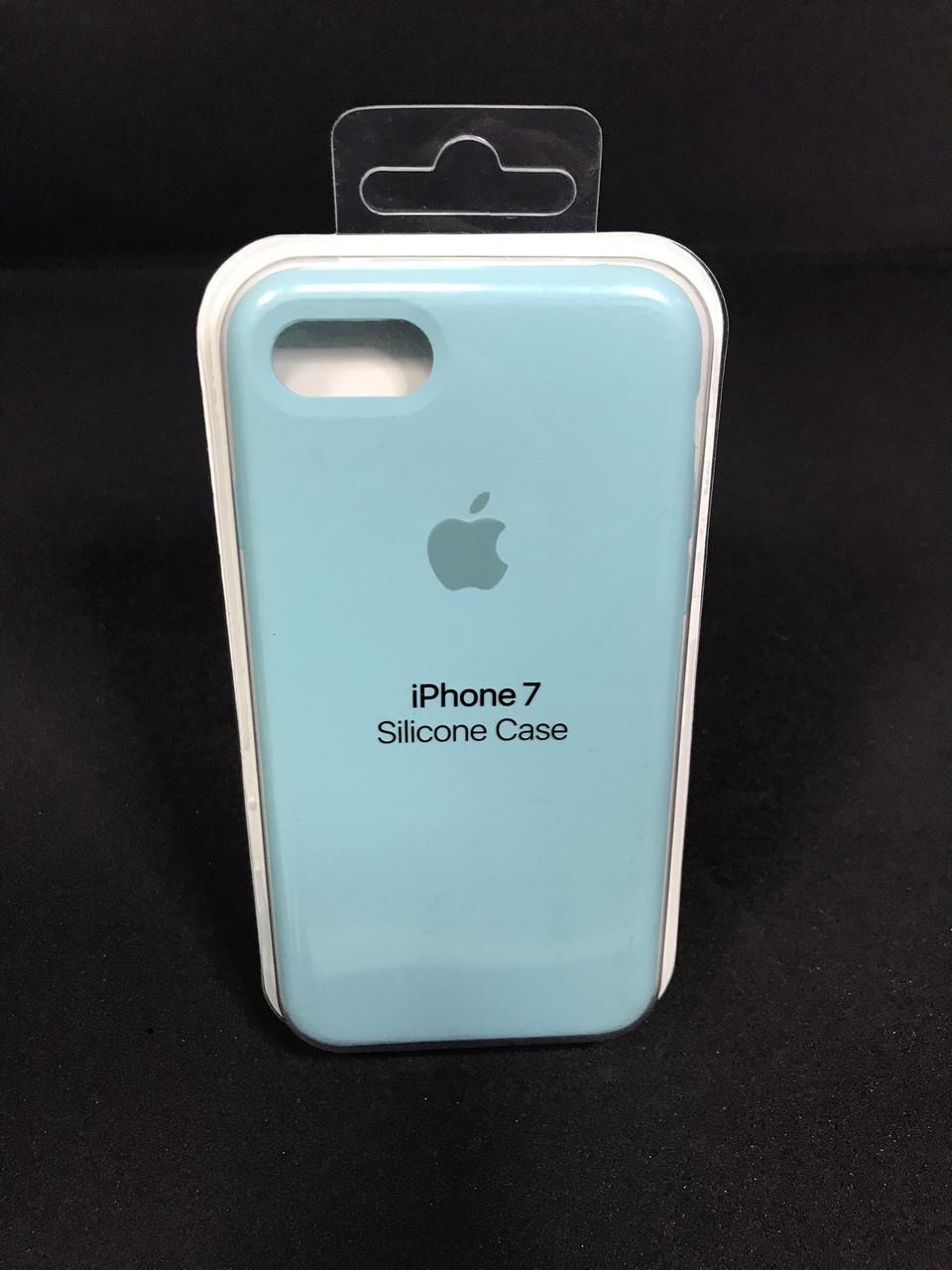 Чехол накладка Case защитный бампер для телефона Iphone 7 Soft touch Голубой