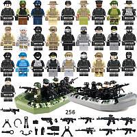 28 фигурок Лего военных и 2 лодки swat спецназовцы армия лего Lego BrickArms